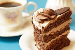 Skiva av närbilden för chokladkaka Royaltyfri Fotografi