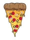 Skiva av pizza med den salamioliv och ängen Illustration för snabbmat för vektorgemkonst Royaltyfria Bilder