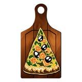 Skiva av pizza på brädet Fotografering för Bildbyråer