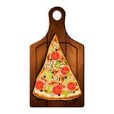 Skiva av pizza på brädet Royaltyfria Bilder