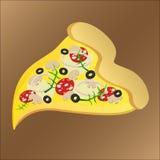Skiva av smaklig pizza med champinjonen och ost vektor illustrationer