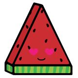Skiva av vattenmelon med sinnesr?relser ?lska leende Vektorillustration i tecknad filmstil vektor illustrationer