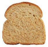 Skiva av wholewheatbröd som isoleras på vit Arkivfoton