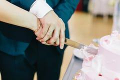 Skiva bröllopstårtan Royaltyfri Foto