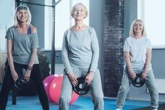 Skiva för vikt för mogna kvinnor för aktiv svängande på idrottshallen royaltyfria bilder