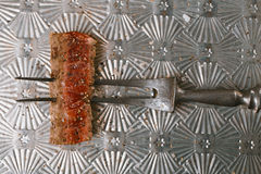 Skiva för nötköttbiff på tappningköttgaffel Arkivfoton