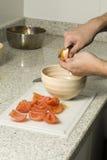 skiva tomater royaltyfria foton