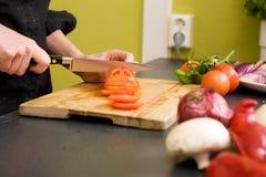 skiva tomater för detalj Royaltyfria Bilder