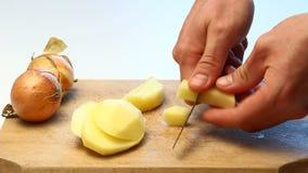 Skiva videopp potatisar lager videofilmer