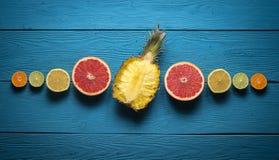 Skivad ananas och citrus Arkivbilder