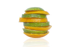 Skivad apelsin i torn Arkivfoto