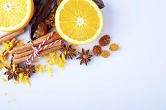 Skivad apelsin med kanelbruna pinnar och anis Fotografering för Bildbyråer