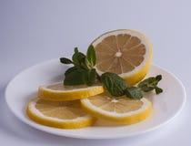 Skivad citron med mintkaramellen royaltyfria foton