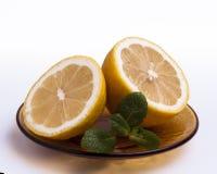 Skivad citron med mintkaramellen royaltyfri fotografi