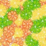 Skivad citronlimefrukter och apelsin på sömlös modell royaltyfri illustrationer