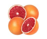 Skivad grapefrukt på vit royaltyfri fotografi