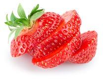 Skivad jordgubbe som isoleras på vit Royaltyfri Bild