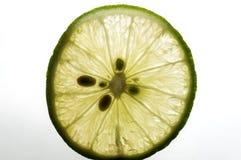 Skivad limefrukt på vit bakgrund Rum för text arkivbild
