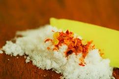 Skivad mango som tjänas som med salt Fotografering för Bildbyråer