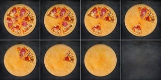 Skivad pizza som äter i collage för 8 ramar Royaltyfria Bilder
