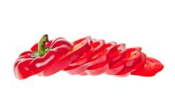 Skivad röd spansk peppar arkivfoton