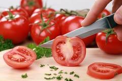 Skivad tomat fotografering för bildbyråer