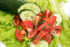 Skivad tomat och gurka med grönsallat på vit bakgrund Royaltyfri Foto