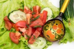 Skivad tomat och gurka med grönsallat på vit bakgrund Arkivbilder