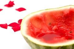 Skivad vattenmelon på en vit bakgrund Arkivfoto