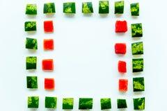 Skivad vattenmelon på vit bakgrund Royaltyfri Fotografi