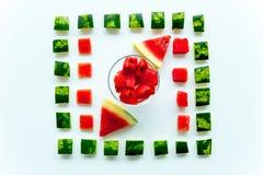 Skivad vattenmelon på vit bakgrund Arkivbild