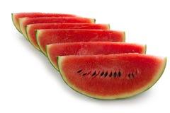 Skivad vattenmelon, på vit bakgrund Royaltyfria Foton