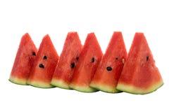 Skivad vattenmelon, på vit bakgrund Royaltyfri Bild