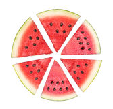 Skivad vattenmelon som isoleras i vit bakgrund Arkivbild