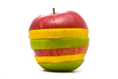 skivad yellow för äpplen grön red Fotografering för Bildbyråer