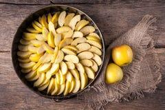 Skivade äpplen i magasin Arkivfoton
