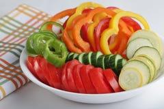 skivade grönsaker Arkivfoto