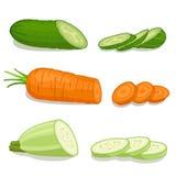 skivade grönsaker vektor stock illustrationer