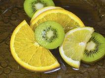 Skivade Kiwi Lemon Orange i vattenslut upp Fotografering för Bildbyråer