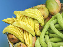 Skivade mango och frukter Royaltyfria Foton