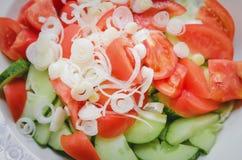 Skivade tomater, gurkor och lökar är i cirklar på en platta Closeupen som är bästa beskådar fotografering för bildbyråer