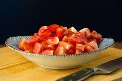 skivar tomater högg av tomater Sund mat för nya tomater Arkivfoto