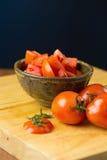 skivar tomater högg av tomater Sund mat för nya tomater Arkivbild