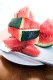 skivar vattenmelonen royaltyfria bilder