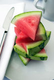 skivar vattenmelonen fotografering för bildbyråer