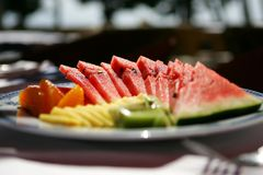 skivar vattenmelonen Arkivbild