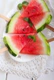 skivar vattenmelonen Arkivfoto