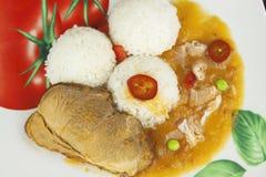 Skivastekgriskött med ris och sås Förbereda hemlagad mat Fotografering för Bildbyråer