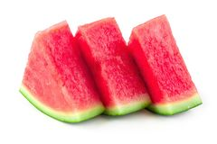 Skivat av vattenmelon som isoleras på vit bakgrund royaltyfri bild