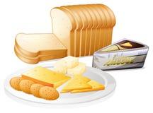 Skivat bröd med ost och kexar stock illustrationer